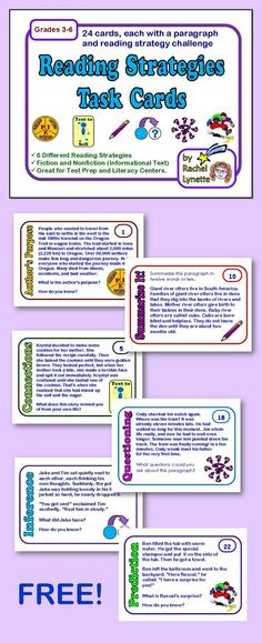 FREE:  Use this set of free reading strategy task cards to help your students practice these important skills. Students can answer on notebook paper and use the included recording sheet to keep track of the cards they have completed. Another option is to use these orally in small groups. A suggested answer key is included (answers for most of these cards are subjective, so the answer key is only offered as a guide).