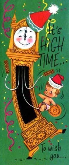 vintag christma, antiqu card, vintag ii, new years, mele kalikimaka