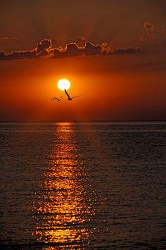 Beautiful sunrise on The Black Sea, Varna, Bulgaria