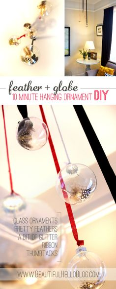Beautiful Hello Blog feather and glass ornaments DIY