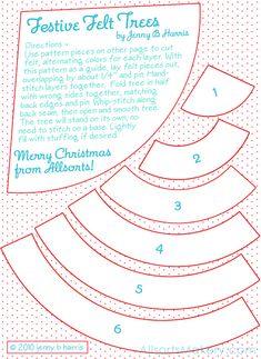 Festive Felt Christmas Trees ~ free pattern