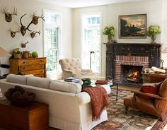 deer horns, interior, fireplaces, antlers, room decorating ideas, hous, cozy living rooms, live room, mantl