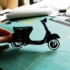 Vespa Scooter HandCut Paper Silhouette 8x10 by papercutsbyjoe, $45.00