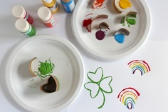 Shamrocks and Rainbow Paper Tube Stamping- A perfect craft for St. Patrick's Day!