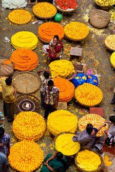 Flower Market in Bangalore , India