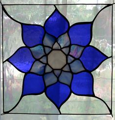 Blue Lotus Stained Glass Panel