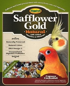 Higgins Safflower Gold Natural Conure Cockatiel Bird Food - Small 25 lb - NO Sunflower Seeds