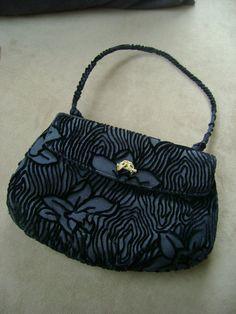 vintage black burnedout velvet floral pattern purse by truthorwear, $55.55