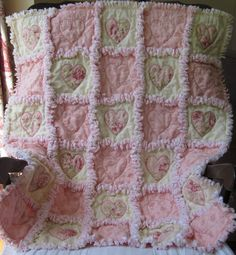 shabby chic baby rag quilt with appliqued hearts--extra wide seams for an especially cozy look.
