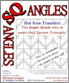 New - The Super Quick way to make 1/2 square triangles!  Check it out at http://sqangles.com/