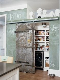 love the door and chalkboard walls