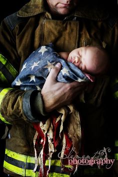 #newborn #american flag #fireman. what a beatiful way to show love for our country ;)