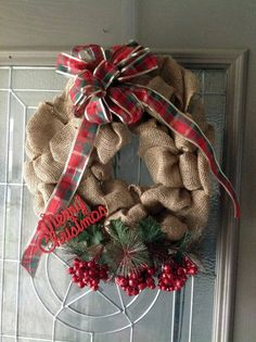 Traditional burlap Christmas wreath by thebestintentions on Etsy, $38.00