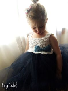 Flower Girl Tutu Dress Crochet Bodice Nautical Navy Blue and White with Crochet Bow Child
