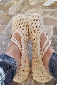 Cotton Crochet Slippers - cute for summer slippers