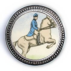 Broken China Jewelry - Wedgwood Horses - Lipizzaner - Sterling Silver Pin Brooch $128