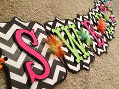 Sweet Sixteen Banner (Black & white chevron, hot pink, lime green, turquoise, bright orange, yellow)
