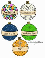 names of Jesus ornaments to cut and color and hang on the Christmas tree