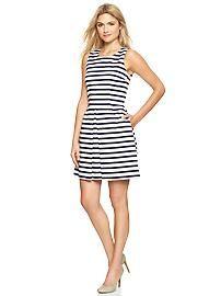 Stripe sateen fit & flare dress