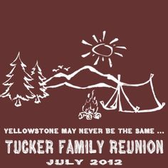 Family reunion t-shirt camping design with tent campfire and trees.  http://www.reuniontees.com/reunion_tees/Design/FRW_LOST_LAKE  #CampingTshirt, #ReunionTshirt