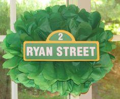 Street sign tissue paper pompom kit, inspired by Sesame Street. $9.99, via Etsy.