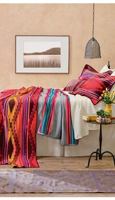 The Bright River Collection from Pendleton Wool will add a bohemian touch to any southwestern home for Fall 2014.   Stylish Western Home Decorating
