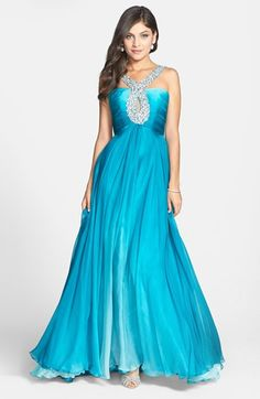 Sherri Hill Beaded Halter Cutout Chiffon Gown available at #Nordstrom