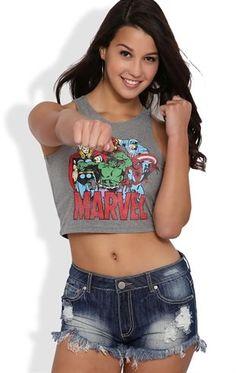 Deb Shops #Marvel #Comics #Crop Tank Top $12.00