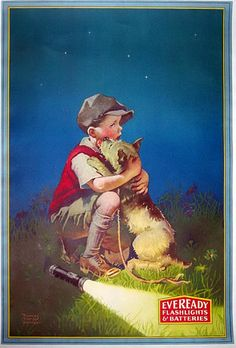 Vintage Poster advertisment for Eveready Battteries .A Boy and his dog at night.