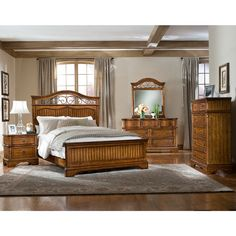 Piston 5 Piece Black Rubberwood Bedroom Set