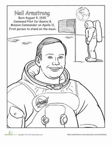 Neil Armstrong Coloring Page Worksheet