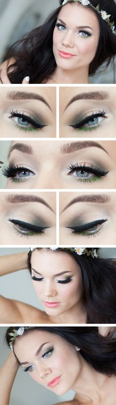 """Today's Look : """" Green Spring"""" -Linda Hallberg ( a very soft, very beautiful look... very soft smokey eye, winged eyeliner with a fresh green on the lower lashline, a bit of sparkle completes the look without overpowering it at all. Love how she pairs this particular eye with a salmony peach/coral..) 05/20/13"""