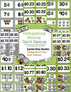 Level One: Comparing Money Values Card Games/Centers. Uses up to 2 coin values per set. 15 Sets of playing cards (varying difficulties) and center instructions for 6 different games. $