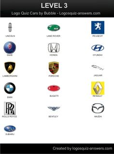 Android Level 3, Answers: Lincoln, Land Rover, Peugeot, Saab, Honda, Hyundai, Lamborghini, Porsche, Jaguar, BMW, Bugatti, Renault, Rolls, Royce, Bentley, Mazda, Ford