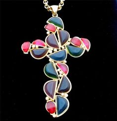 "Huge Runway Multi Color Cross 4 5"" Pendant AB Rhinestone Vintage Gold Necklace | eBay"