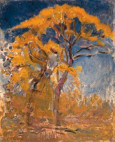 Two trees with orange foliage against blue sky, Piet Mondriaan. Dutch (1872 - 1944)  )