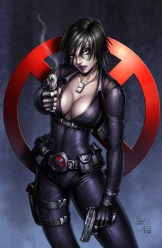 Domino Commission Digital Colors by ~Dawn-McTeigue Traditional Art / Drawings / People	©2013 ~Dawn-McTeigue Domino Commission. Started at Emerald City Comic Con, finished at home. Pencils & inks by me, digital colors by Sabine Rich . The full commission piece with copics by me can be seen here: [link] Drawn March 2013