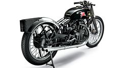 The Vincent Black Lightning prototype gained fame in 1948 when it set a motorcycle speed record of more than 150 mph on the Bonneville Salt Flats in Utah.