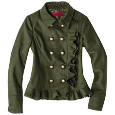 Ruffles feminize a wool military-inspired jacket.