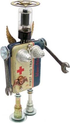 """Name: Health Angel  D.O.B.: 5/13/10  Height: 12.5""""  Principal Components: First aid tin, vacuum tube, clock gear, tea balls, wrenches, hydraulic fittings, earring"""