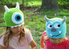Sully Crochet hat from Monsters Inc Monsters by mythreeblindmice  Gorros Mike y Sullie monstruos - crochet