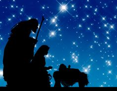 Wise men and baby under stars