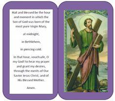 St. Andrew Novena, Christmas Novena Prayer Card printable