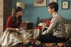 """Jess' (Zooey Deschanel) gold dress from the """"Christmas"""" episode of NEW GIRL on FOX."""