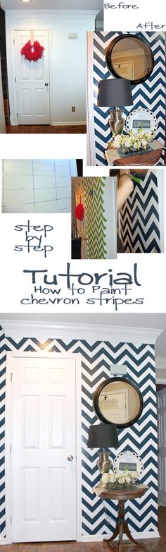 striped chevron painted entry -- great tutorial! #chevron #stripe #painting #wall