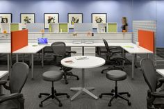 collaborative desks and visitor area