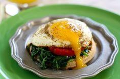 Egg Florentine Over Eggos