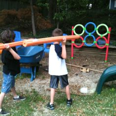 Outdoor pool noodle activity    This is so cool! Would make a great game for the kids