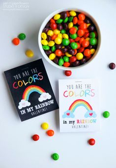 Free Valentines Printable :: You are the colors in my rainbow :: Valentine's Day
