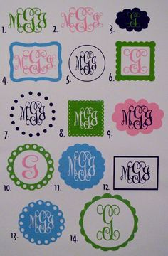 Personalized Monogram Vinyl Car Decals